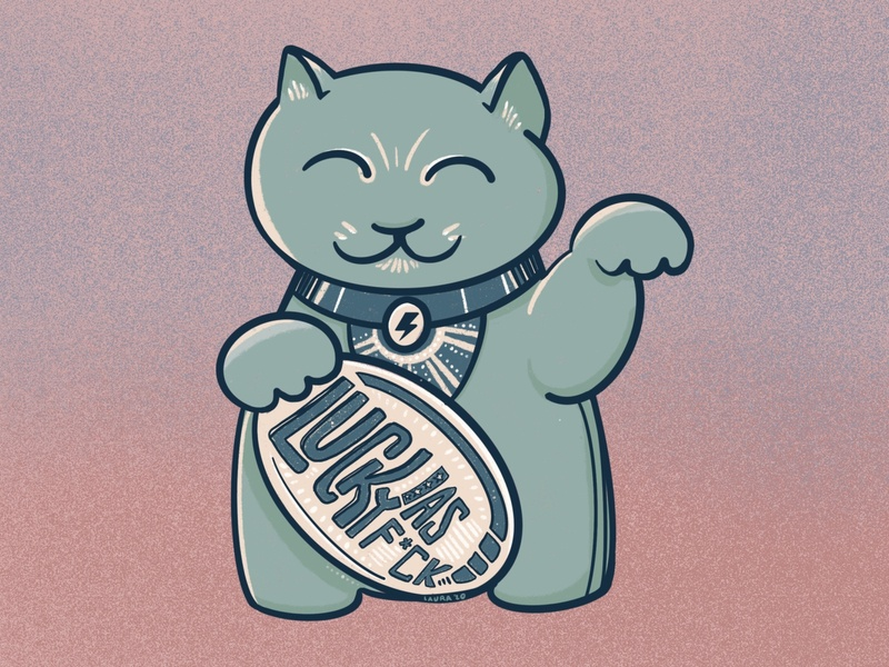 Lucky AF stickermule charm manekineko cat illustration procreate hand drawn applepencil drawing design
