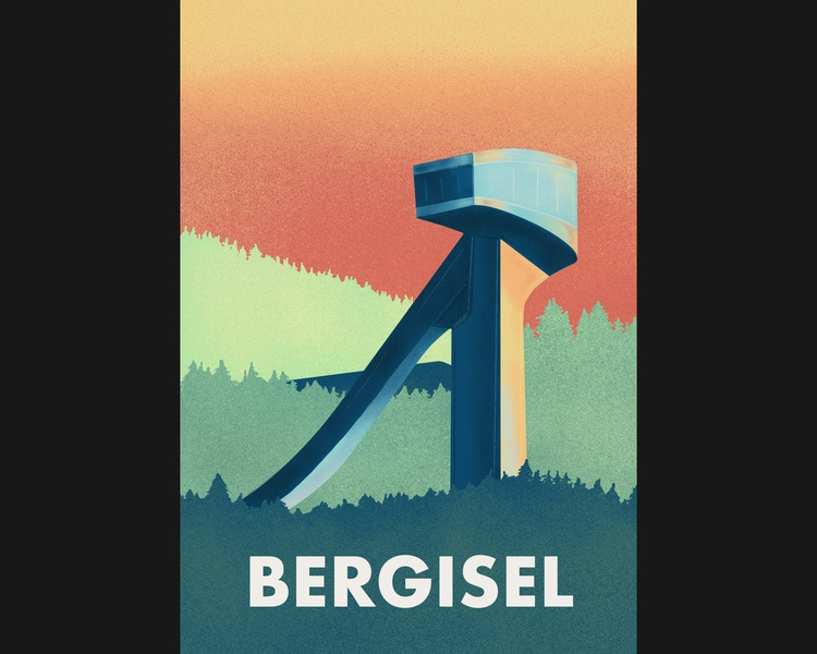 Bergisel forest woods bergisel futura gradient sunset applepencil procreate ipad skiing skijump austria illustration design