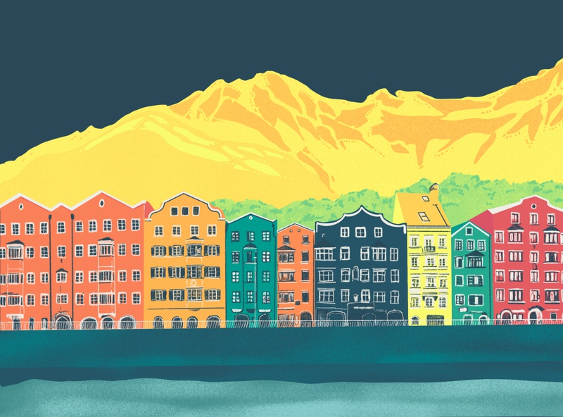 No Place Like Home design illustration hand drawn mountains austria applepencil ipad pro procreate drawing innsbruck