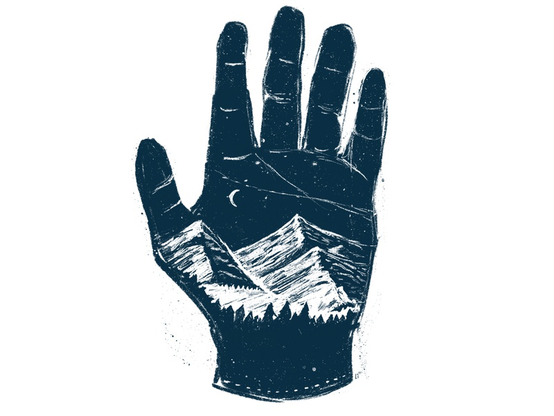 One With the Mountains drawing hand mountains hand drawn procreate sketch raster illustration design