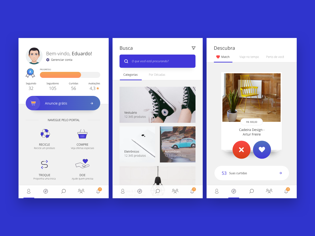 Marketplace - Discover, like, buy & sell flat uidesign minimal home tinder search profile portal visual user experience interface mobile ux ui marketplace ecommerce app ecommerce