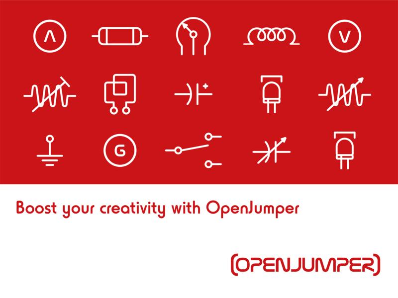 OPENJUMPER  Graphic Element intelligent hardware logo icon design