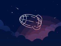 Zeppelin skyscape illustration