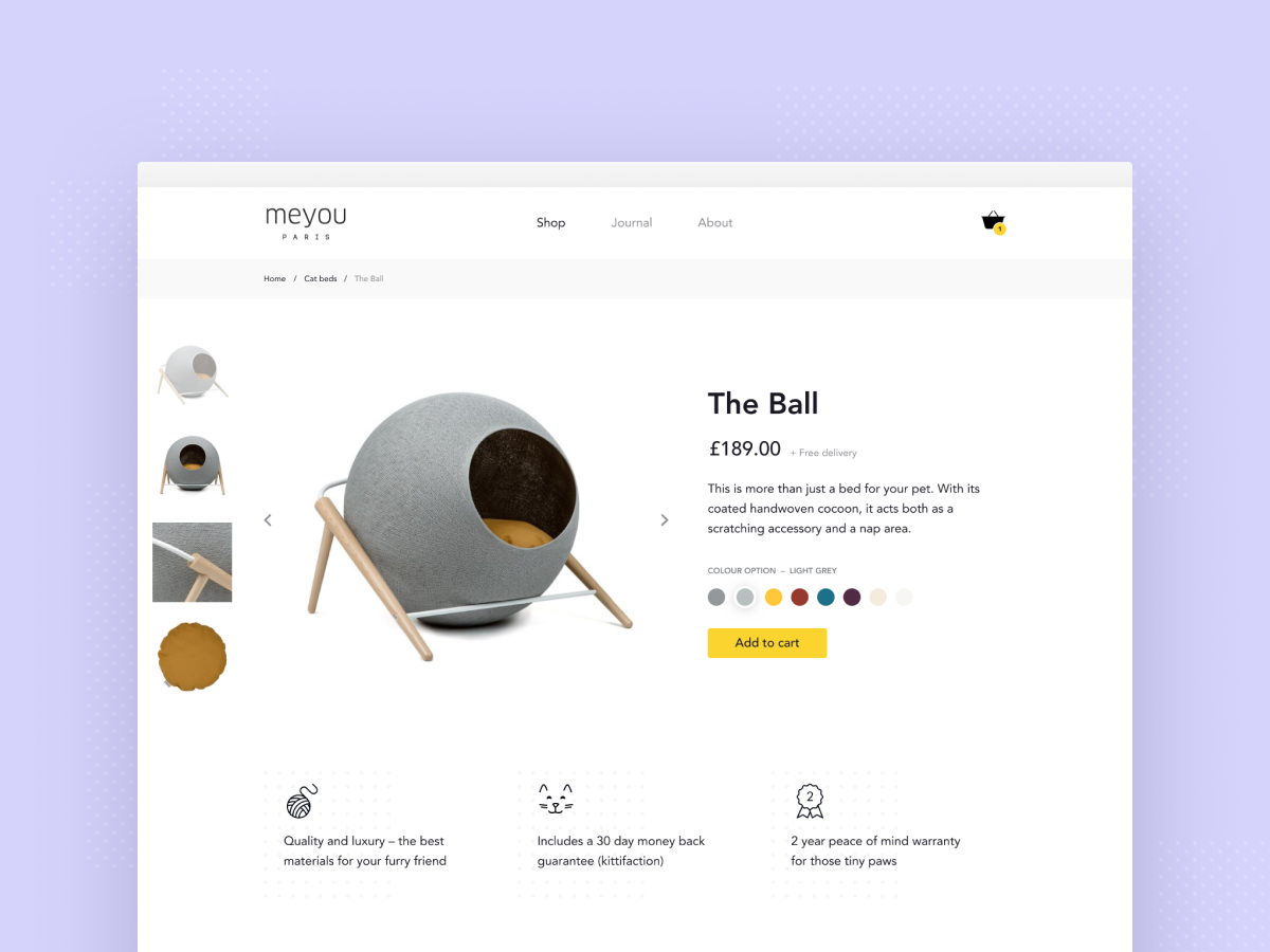 Ecommerce product page – for trendy cats ui design user experience ux ui product design minimal website concept furniture website e-commerce ecommerce shop
