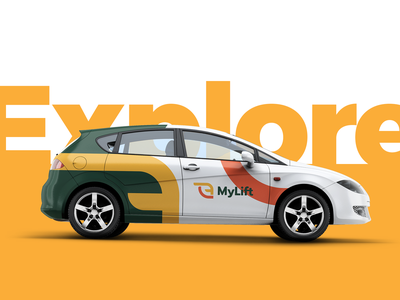 MyLift car wrap logotype process logoflow modern icosaedru automotive automotive logo car mockup visual language logo usage logo car rental logodesign visual identity branding car wrap