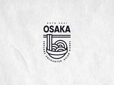 Osaka modern minimal lineart logo restaurant logo icosaedru logo collection restaurant asian cookery asian food noodles osaka vector logotype logo design