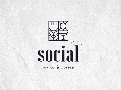 Social Bistro and Coffee logo design vector healthyfood wine food social mark brand concept visual identity identity contrast serif geometric branding restaurant logo bistro logo coffee bistro