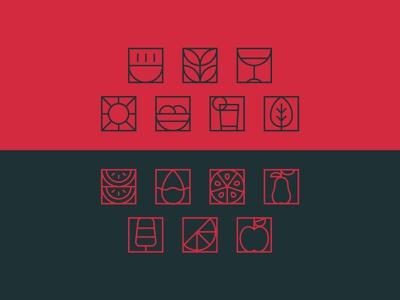 Icon set brand identity minimalist geometric design healthy food visual identity restaurant bistro food industry lines modern geometric iconset icons branding design process vector