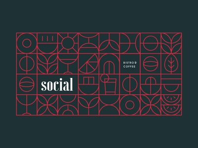 Decorative wall - Social Bistro and Coffee minimalist symbols stylized food industries modern branding social brand materials decorative restaurant restaurant branding bistro branding brand identity concept design vector