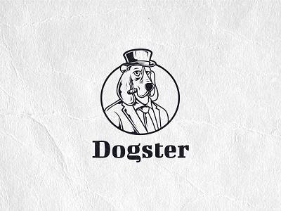 Dogster illustration cigar suit funny logo smoke classy cartoon detailed illustration logo gangster dogster dog vector logo logotype logo design