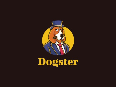 Dogster Logo - Full Color icosaedru smoke cigar dog logo dogster gangster beagle dog illustration vector logotype logo logo design