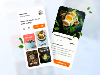 Food app main and product detail screen vector ios design clean ux app ui
