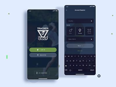 Golf app ui design dark theme dark mode dark ui clean ux ui
