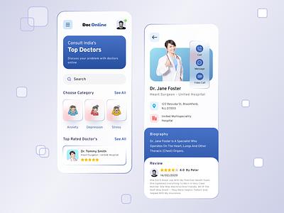 Medical Mobile App glassmorphism ui design part3 medical figma heath care mobile template doctor ui design clean design