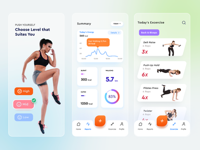 Fitness Mobile App glassmorphism ui design style mobile icon vector clean glassmorphism ios simple app ux ui design