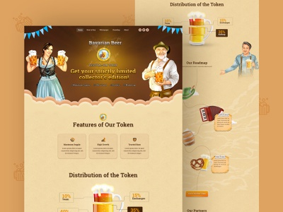 Bavarian Beer | Crypto Token Designs and NFT Marketplace landing page ui blockchaintechnology blockchain cryptocurrency illustration web graphic design 3d crypto token design