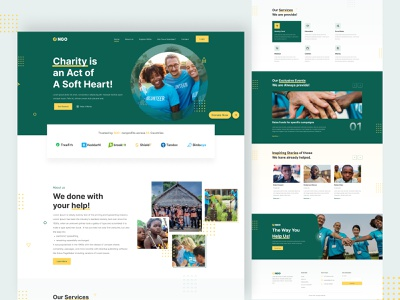 NGO Website design graphic design charity web landing page ngo ngo website design website ux ui clean design