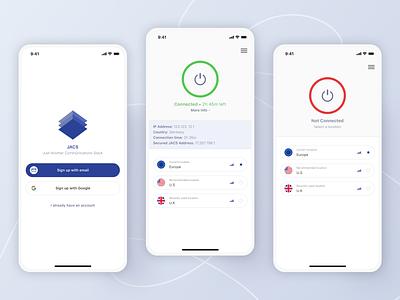 Mobile App - JACS VPN privacy vpn app vpn crypto blockchain ux ui mobile minimal design app