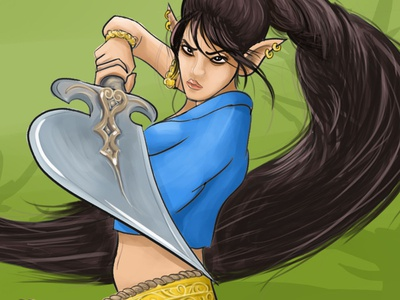 Speed Drawing: Female Warrior! Digital Coloring Process