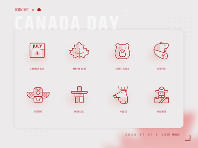Happy Canada Day 2020!!! maple leaf canada day red sticker concept vector icons illustration logo branding iconset canada iconography icon