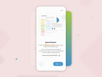 TTT Scavenger Hunt App - Onboarding ui ux gif video colorful transition game app design android ios motion mobile interaction interface design logo onboarding branding animation app