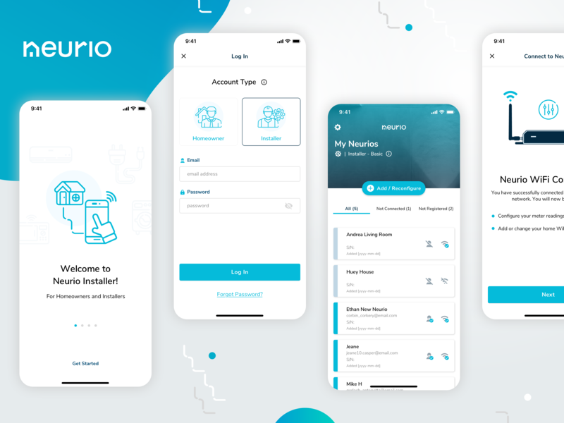 Neurio Installer App UI Screens process onboarding product blue iot platform ios illustrations ux mobile app ui