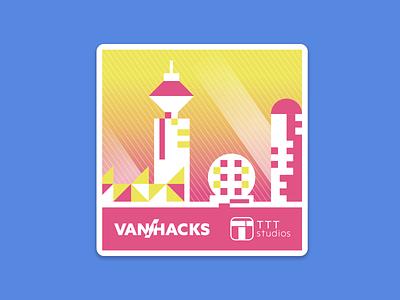 2019 VanHacks Sticker colors stickers tech creative sticker print fun graphic design illustration design