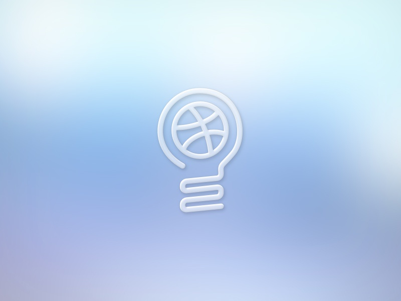 Dribbble Bulb Rebound  dribbble lightbulb rebound sketch vector freebee psd blurred background