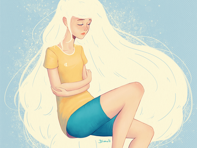 Oceano loneliness music illustration girl digital painting pintura digital wacom photoshop desenho arte drawing art