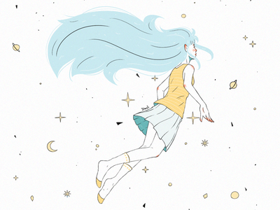 Universe blue hair pintura digital digital art digital painting floating glow planets stars illustration drawing design art