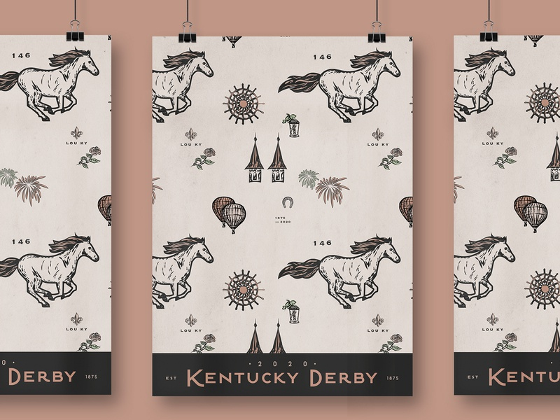 Kentucky Derby poster kentucky poster derby horse vector typography design graphic illustration