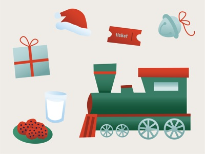 Christmas Express vector drawing polar express present santa christmas train branding illustration design