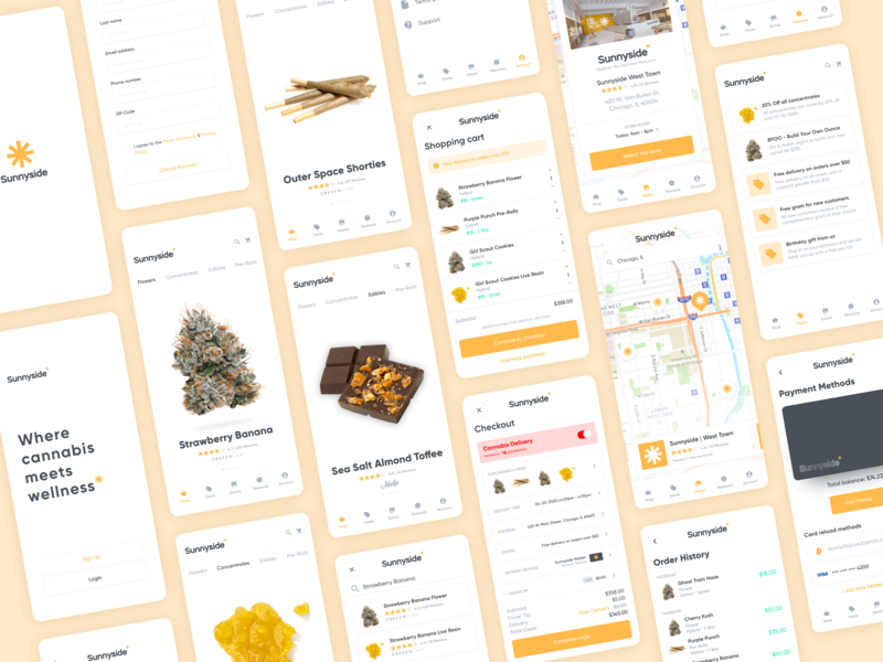 010 | Sunnyside Cannabis search map app ecommerce cbd store uxdesign concentrates product products mobile ui design product design hemp marijuana cannabis ux ios design ui