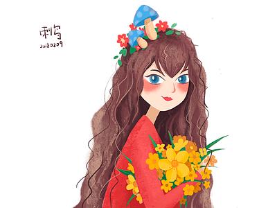 有捧花的姑娘Girl with bouquet illustration department forest healing