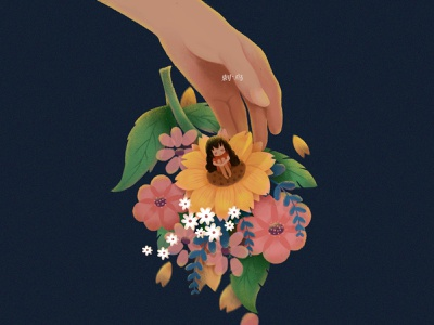 《触碰》Touch hand flowers illustration typography character design illustrator illustration