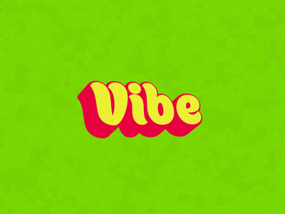Vibe 3d yellow pink green psychedelic vibrant vibe type text loop motion animation after effects