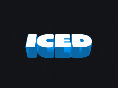 Iced white blue iced loop 3d typography text type animation motion after effects
