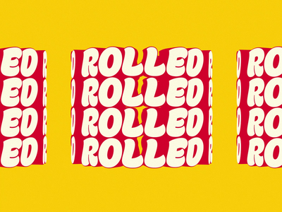 Rolled white red yellow rolled animation motion after effects 3d loop type