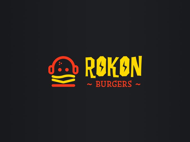 Rokon Burgers Branding music burgers branding logo
