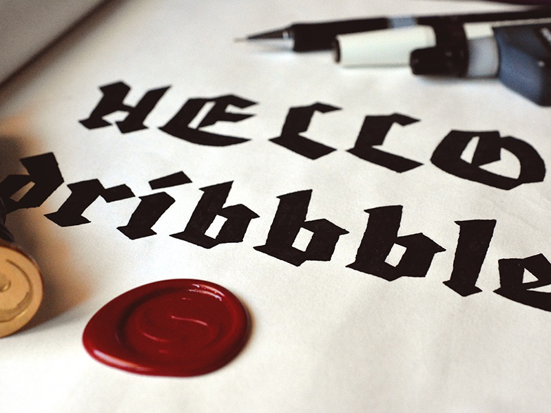 Hello Dribbble! hello dribbble black letter wax seal first shot debut