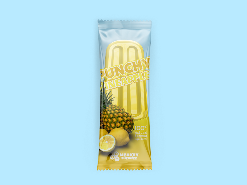 Punchy Pineapple Package summer popsicle packaging monkey ice pineapple punchy business yellow 3d