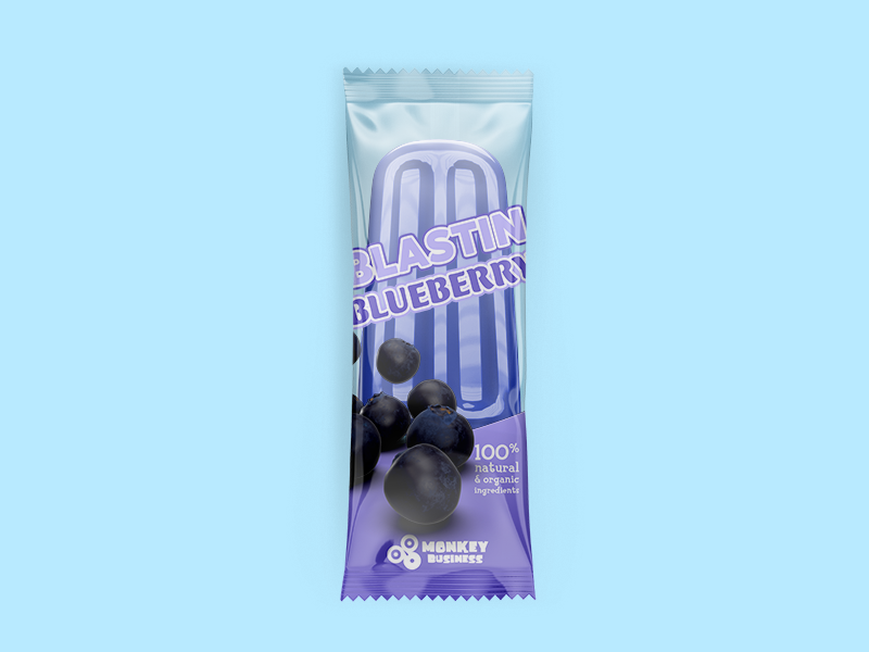 Blastin Blueberry Package tropical summer popsicle packaging purple monkey bustin blueberry blue ice business 3d