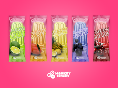 Monkey Business Pops Lineup treat tasty tropical summer popsicle packaging monkey ice frozen juice business 3d