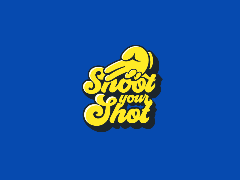 Shoot Your Shot finger gun type script hand cartoon shot your shoot groovy