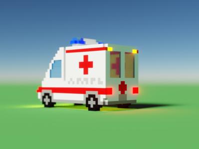 Voxel Ambulance - Back