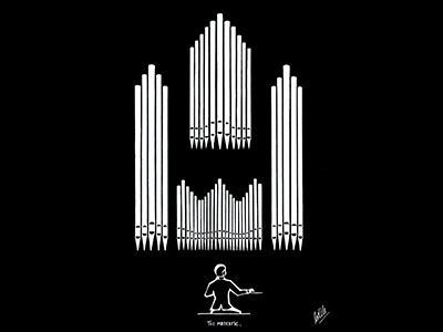 The Majestic acrylic marker pen and paper drawn on paper instruments music pipe organ church pipe organ hand drawn illustration hand crafted design illustration