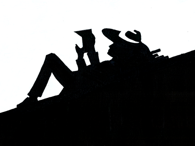 The Savant Boy chiaroscuro obscure book lover hat man with hat man reading book bold illustration black and white pen and paper illustration hand drawn illustration hand crafted design drawn on paper acrylic marker