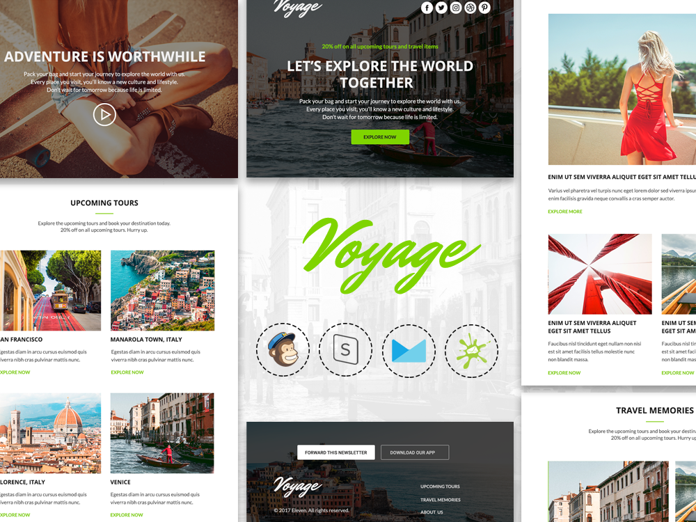Voyage v1.0 - Responsive Tour & Travel Agency Email Template modern agency digital marketing campaign monitor mailchimp creative responsive newsletter design newsletter email marketing email campaign tour minimal travel
