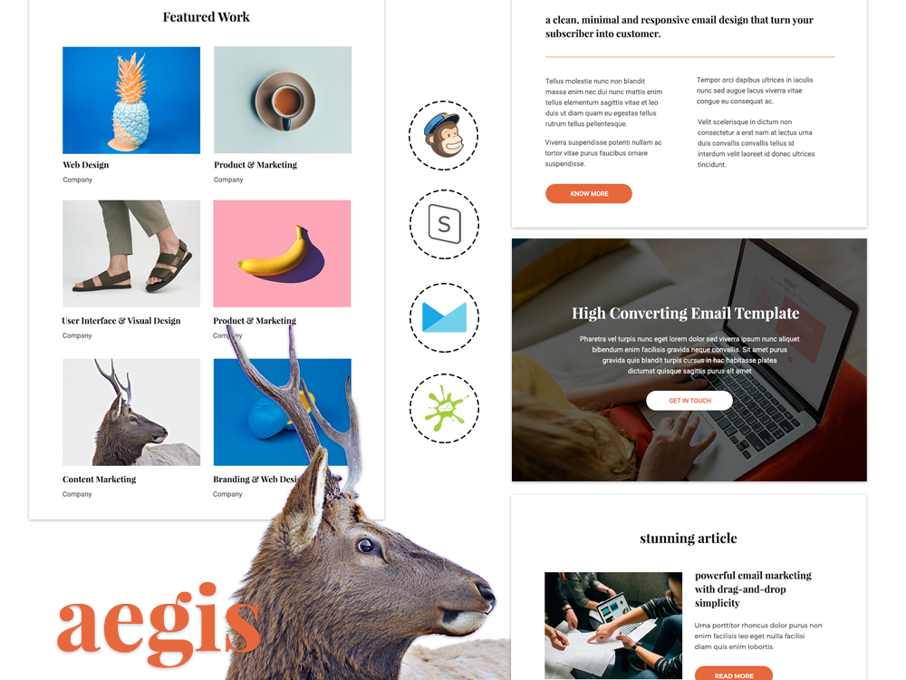 Aegis - Responsive Email Template for Agencies emailer blog company newsletter newsletter design email design email template portfolio business modern responsive