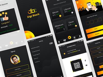 Digi Black App flat bitcoin app ios android mobile app design uiux